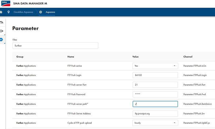 SMA Datamanger M - FTP Parameters